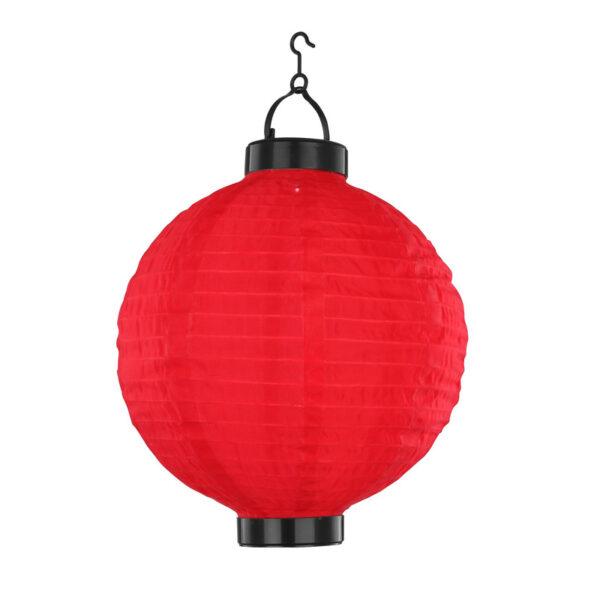 Napelemes vízálló kültéri LED lampion (25 cm) – piros