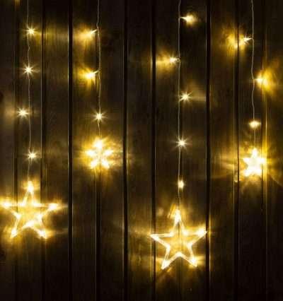melegfehér színű csillag függöny